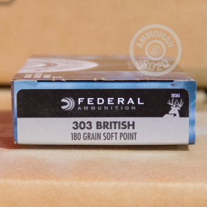 A photograph detailing the 303 British ammo with Jacketed Soft-Point (JSP) bullets made by Federal.