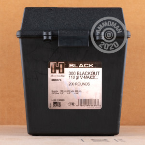 Image of the 300 AAC BLACKOUT HORNADY BLACK IN FIELD BOX 110 GRAIN V-MAX (200 ROUNDS) available at AmmoMan.com.