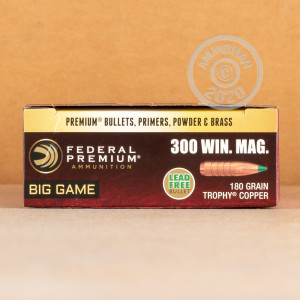 Image of 300 Winchester Magnum ammo by Federal that's ideal for big game hunting, hunting wild pigs, whitetail hunting.