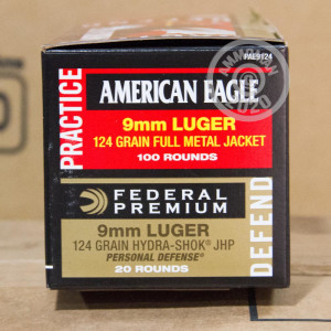 An image of bulk 9mm Luger ammo made by Federal at AmmoMan.com.