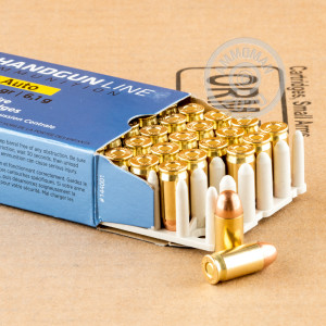 A photograph of 50 rounds of 94 grain .380 Auto ammo with a FMJ bullet for sale.