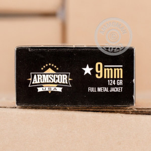 A photograph detailing the 9mm Luger ammo with FMJ bullets made by Armscor.