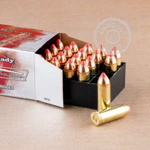 A photograph of 20 rounds of 225 grain .45 COLT ammo with a flex tip technology bullet for sale.