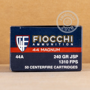 A photo of a box of Fiocchi ammo in 44 Remington Magnum.