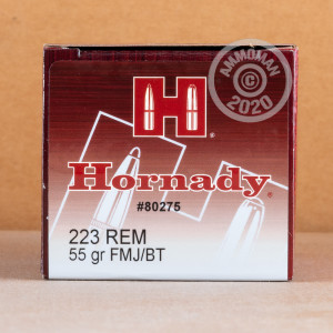 Image of 223 REM HORNADY 55 GRAIN FMJ-BT (50 ROUNDS)