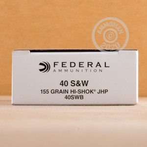 A photograph of 1000 rounds of 155 grain .40 Smith & Wesson ammo with a JHP bullet for sale.