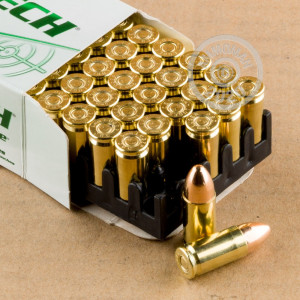 A photograph detailing the 9mm Luger ammo with TMJ bullets made by Magtech.