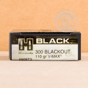 Photograph showing detail of 300 AAC BLACKOUT HORNADY BLACK 110 GRAIN V-MAX (20 ROUNDS)