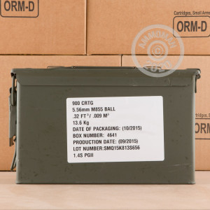 Photo detailing the 5.56X45 FEDERAL LAKE CITY 62 GRAIN FMJ (1800 ROUNDS) for sale at AmmoMan.com.