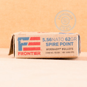 Photograph showing detail of 5.56X45 HORNADY FRONTIER 62 GRAIN SP (500 ROUNDS)