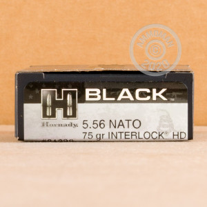 Photo detailing the 5.56X45 HORNADY BLACK 75 GRAIN INTERLOCK HD SBR (20 ROUNDS) for sale at AmmoMan.com.
