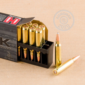 Photograph showing detail of 5.56X45 HORNADY BLACK 75 GRAIN INTERLOCK HD SBR (20 ROUNDS)