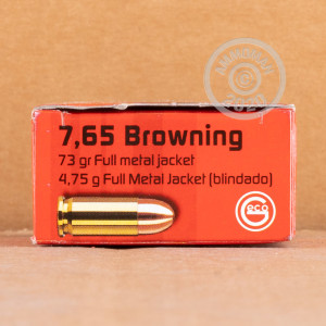 Image detailing the brass case and boxer primers on the GECO ammunition.