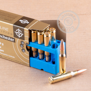 A photograph of 200 rounds of 168 grain 308 / 7.62x51 ammo with a Hollow-Point Boat Tail (HP-BT) bullet for sale.
