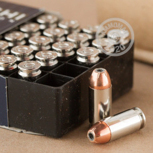 A photograph detailing the .40 Smith & Wesson ammo with XTP bullets made by Fiocchi.