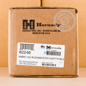 Image of the 450 BUSHMASTER HORNADY BLACK 250 GRAIN FTX (200 ROUNDS) available at AmmoMan.com.