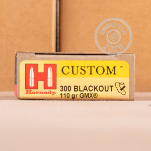 Image of the 300 AAC BLACKOUT HORNADY CUSTOM 110 GRAIN GMX (200 ROUNDS) available at AmmoMan.com.