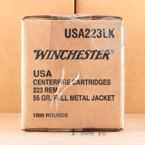 Image of the 223 REMINGTON WINCHESTER 55 GRAIN FMJ (1000 ROUNDS) available at AmmoMan.com.