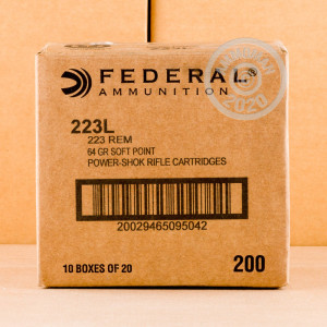 Image of the .223 REM FEDERAL POWER-SHOK 64 GRAIN SP (20 ROUNDS) available at AmmoMan.com.