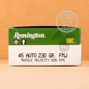 A photo of a box of Remington ammo in .45 Automatic.