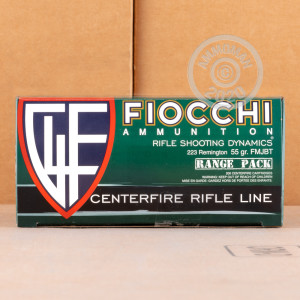 Photo detailing the 223 REM FIOCCHI SHOOTING DYNAMICS 55 GRAIN FMJBT (1000 ROUNDS) for sale at AmmoMan.com.