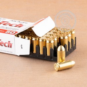 A photograph detailing the .45 Automatic ammo with FMJ bullets made by MaxxTech.