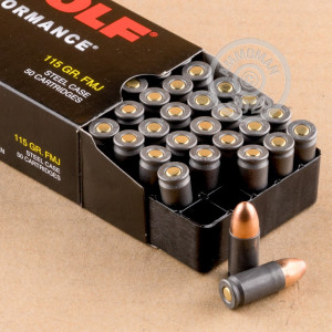 Image of 9mm Luger ammo by Wolf that's ideal for training at the range.