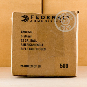 Photo detailing the 5.56 NATO FEDERAL 62 GRAIN FULL METAL JACKET (500 ROUNDS) for sale at AmmoMan.com.