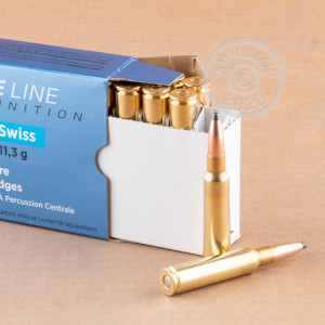 A photograph of 20 rounds of 174 grain 7.5 X 55 ammo with a soft point bullet for sale.
