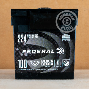 Photograph showing detail of 224 VALKYRIE FEDERAL BLACK PACK 75 GRAIN TMJ (100 ROUNDS)