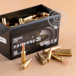 Photo detailing the 224 VALKYRIE FEDERAL BLACK PACK 75 GRAIN TMJ (100 ROUNDS) for sale at AmmoMan.com.