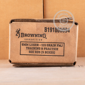 Photo of 9mm Luger FMJ ammo by Browning for sale at AmmoMan.com.