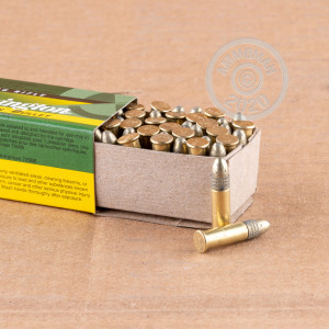 rounds of .22 Long Rifle ammo with copper plated round nose bullets made by Remington.