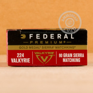 Photo detailing the 224 VALKYRIE FEDERAL GOLD MEDAL 90 GRAIN BTHP (200 ROUNDS) for sale at AmmoMan.com.