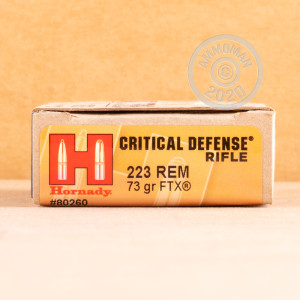 Photo detailing the 223 REM HORNADY CRITICAL DEFENSE 73 GRAIN FTX (20 ROUNDS) for sale at AmmoMan.com.