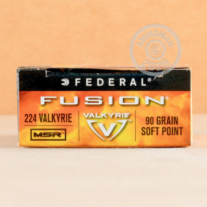 Photograph showing detail of 224 VALKYRIE FEDERAL FUSION MSR 90 GRAIN SP (20 ROUNDS)