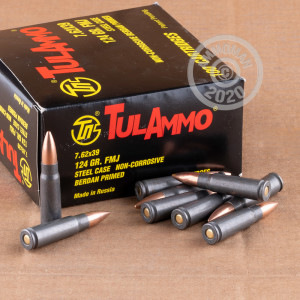 An image of 7.62 x 39 ammo made by Tula Cartridge Works at AmmoMan.com.