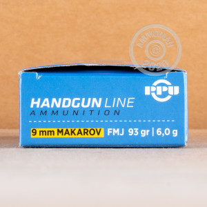 A photo of a box of Prvi Partizan ammo in 9x18 Makarov.