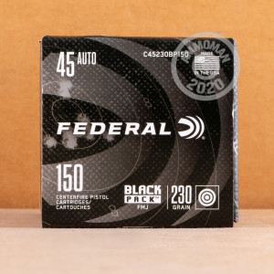 Image of Federal .45 Automatic bulk pistol ammunition.