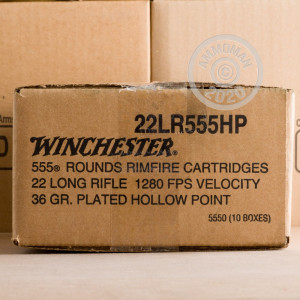 A box of Winchester ammo in .22 Long Rifle that's often used for hunting varmint sized game, training at the range.