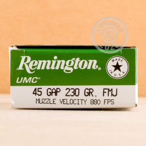 A photo of a box of Remington ammo in .45 GAP.