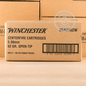 Photo detailing the 5.56X45 WINCHESTER USA 62 GRAIN OT (180 ROUNDS) for sale at AmmoMan.com.
