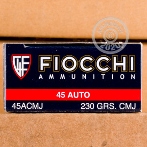 Image of .45 Automatic ammo by Fiocchi that's ideal for shooting indoors.