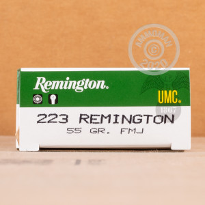 Photograph showing detail of 223 REM REMINGTON UMC 55 GRAIN MC (20 ROUNDS)