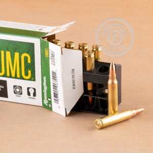 Photo detailing the 223 REM REMINGTON UMC 55 GRAIN MC (20 ROUNDS) for sale at AmmoMan.com.