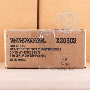 A photo of a box of Winchester ammo in 30-30 Winchester.
