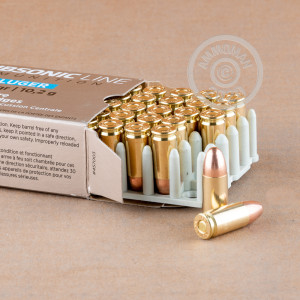 A photograph detailing the 9mm Luger ammo with FMJ bullets made by Prvi Partizan.