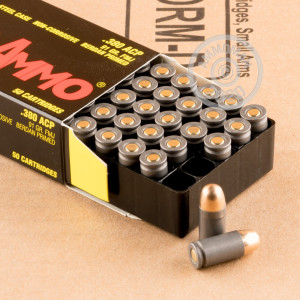 A photograph of 50 rounds of 91 grain .380 Auto ammo with a FMJ bullet for sale.