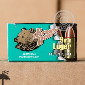 Image of Brown Bear 9mm Luger pistol ammunition.