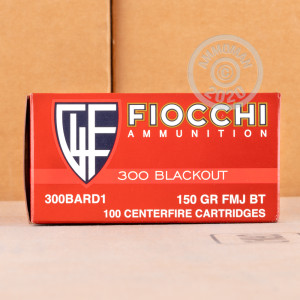 Photograph showing detail of 300 AAC BLACKOUT FIOCCHI 150 GRAIN FMJBT (100 ROUNDS)